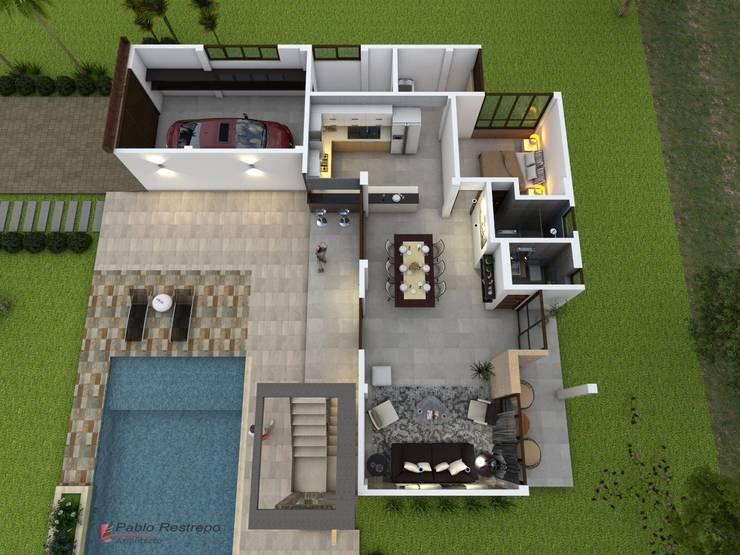 Vista aérea: Casas de estilo  por Arquitecto Pablo Restrepo