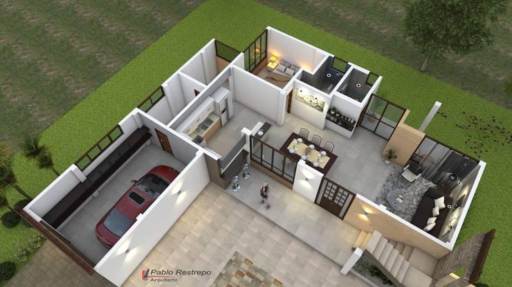 Vista aérea - distribucion interior: Casas de estilo  por Arquitecto Pablo Restrepo
