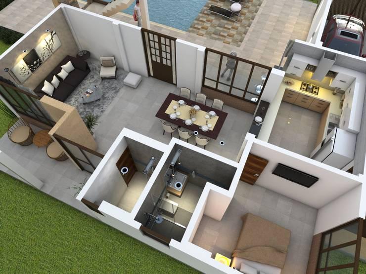 Vista aérea - diseño interior: Casas de estilo  por Arquitecto Pablo Restrepo