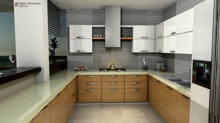 Diseño interior cocina: Cocinas de estilo  por Arquitecto Pablo Restrepo