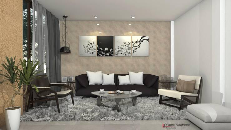 Diseño interior sala: Salas de estilo  por Arquitecto Pablo Restrepo
