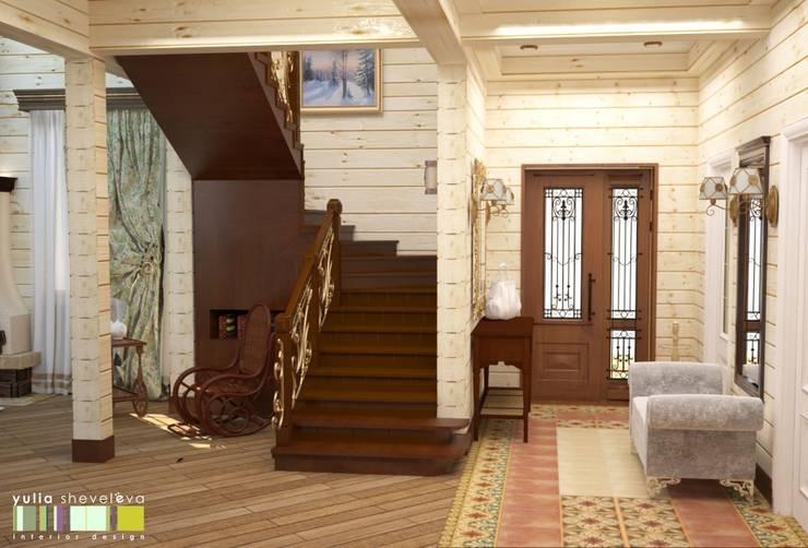 Country style corridor, hallway& stairs by Мастерская интерьера Юлии Шевелевой Country