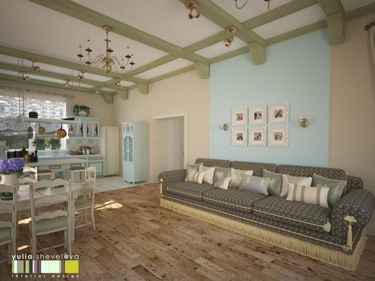 غرفة المعيشة تنفيذ Мастерская интерьера Юлии Шевелевой