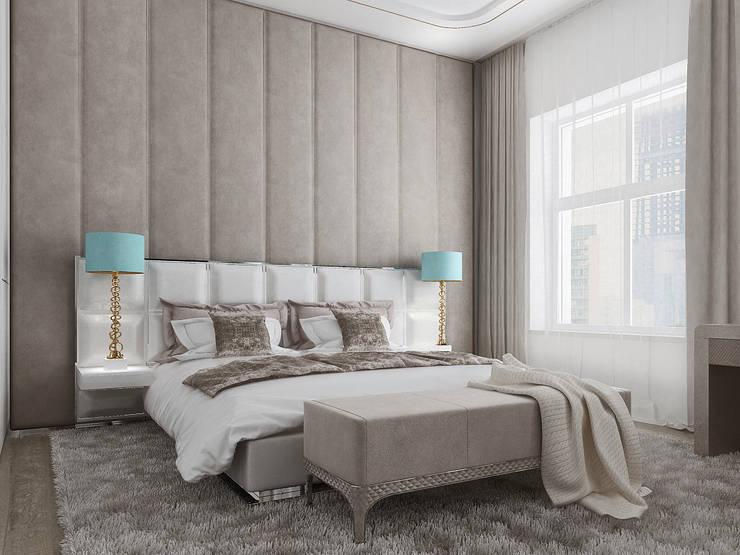 Дизайн квартиры в Парадном квартале: Спальни в . Автор – Студия дизайна интерьера в Москве 'Юдин и Новиков'