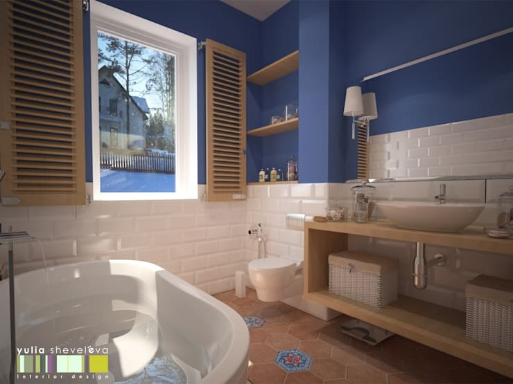 САД ГОРТЕНЗИЙ: Ванные комнаты в . Автор – Мастерская интерьера Юлии Шевелевой