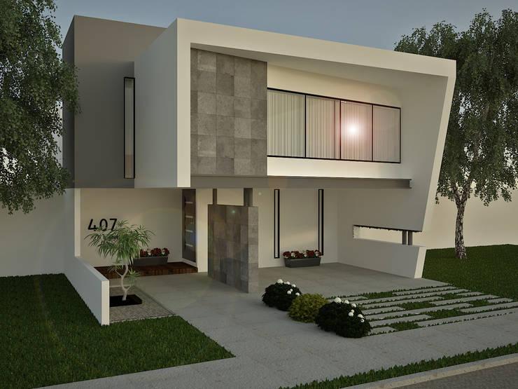 FACHADA, CASA RINCON VERDE: Casas de estilo  por SIGO ARQUITECTOS