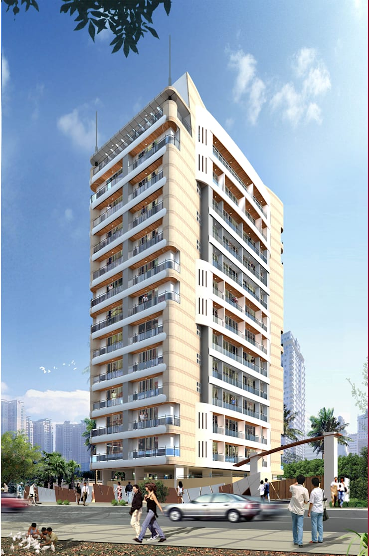 Bhanu Kunj Tower:  Houses by Koncept Architects & Interior Designers,