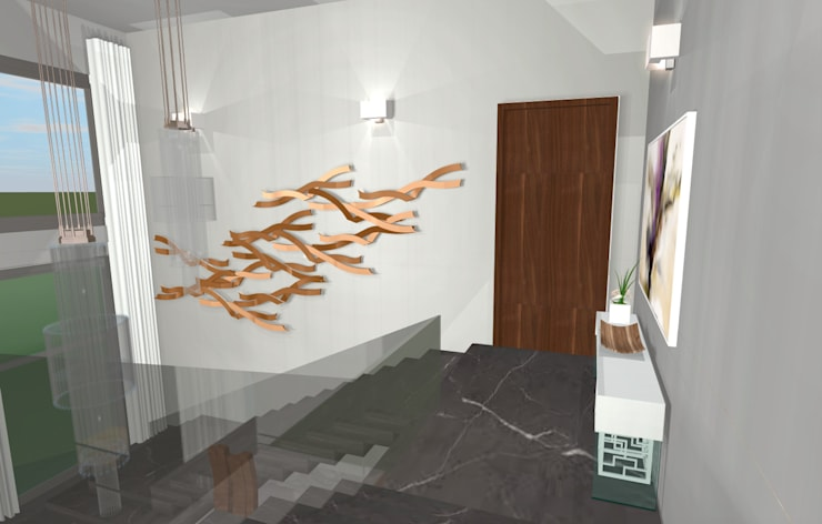 House N:  Corridor & hallway by Kirsty Badenhorst Interiors