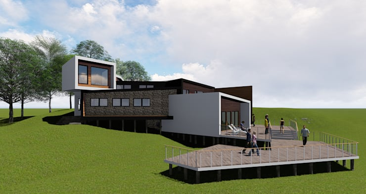 Fachada lateral Izquierda : Casas de estilo  por GerSS Arquitectos