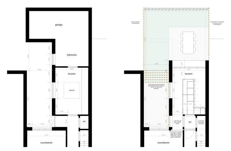 Plattegrond voor en na:   door Gaby Paulissen Architect