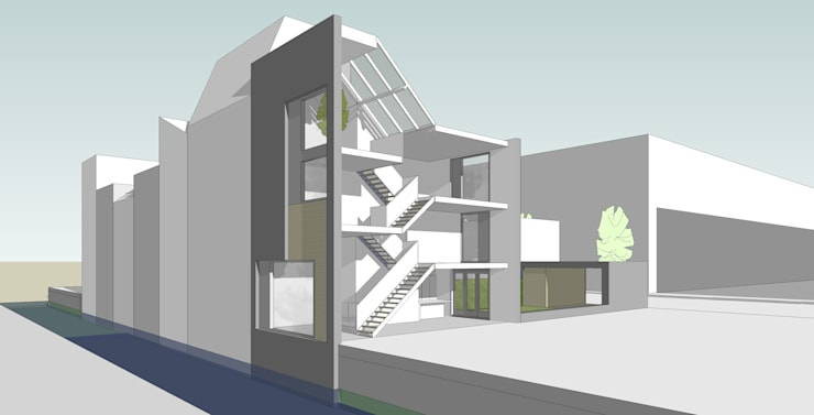 woonhuis O Veemarkt Utrecht:  Gang en hal door atelier2architecten