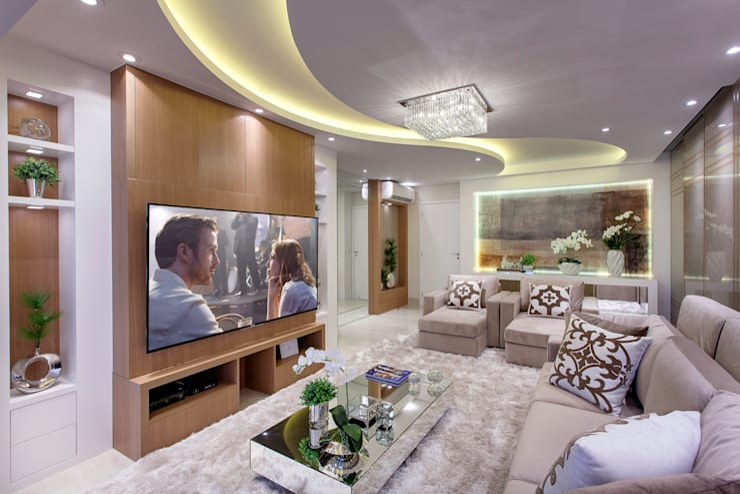 Apartamento Jundiaí: Salas de estar  por Designer de Interiores e Paisagista Iara Kílaris