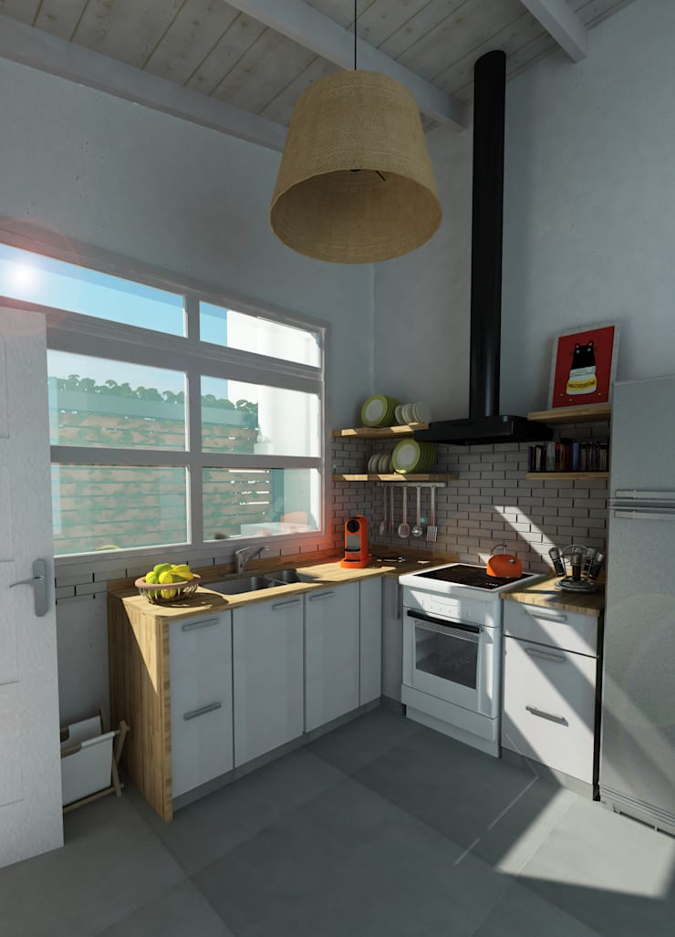 Render Reforma Cocina: Cocinas de estilo  por Dsg Arquitectura ,