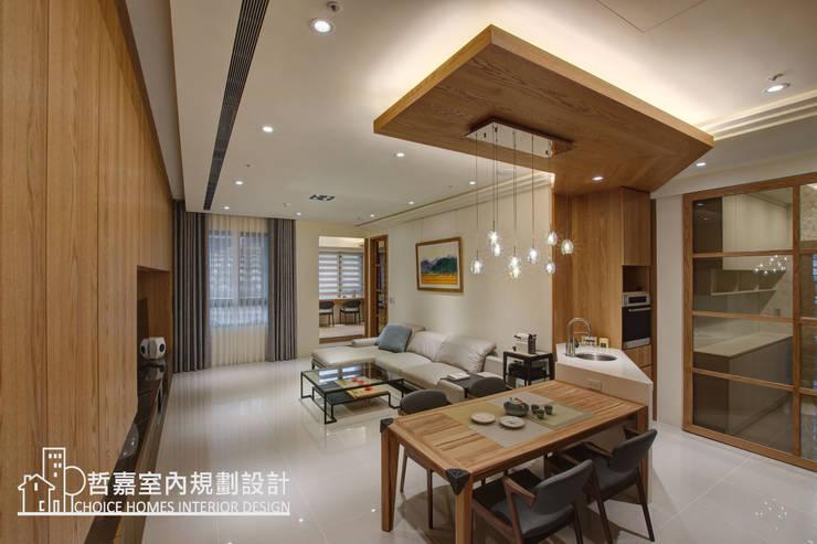 客廳、廚房:  客廳 by 哲嘉室內規劃設計有限公司