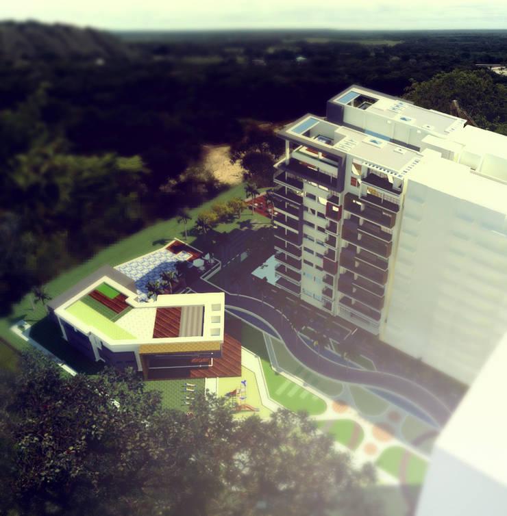 VISTA AÉREA : Casas de estilo moderno por IngeniARQ
