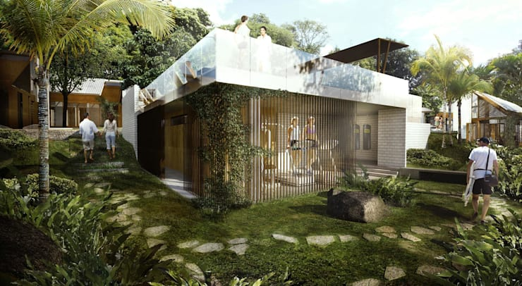 ZONAS COMUNES: Casas de estilo tropical por SUPERFICIES Estudio de arquitectura y construccion