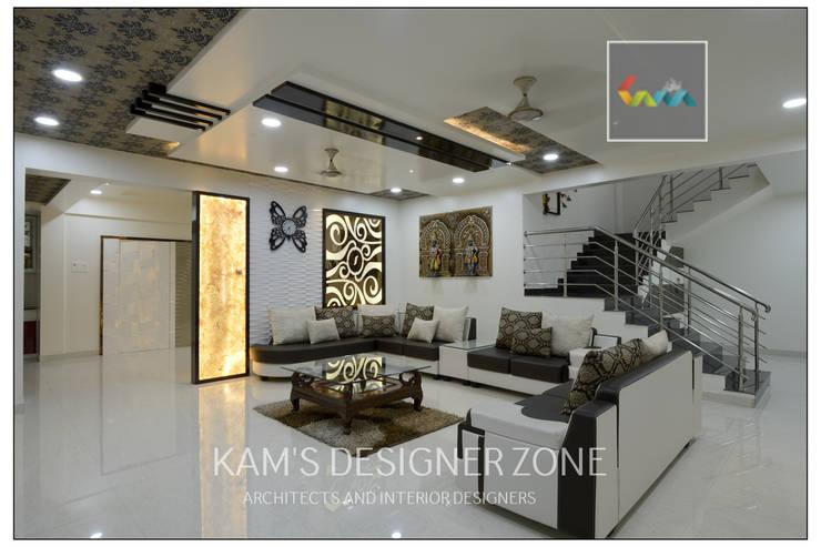 Living Room Design:  Living room by KAM'S DESIGNER ZONE