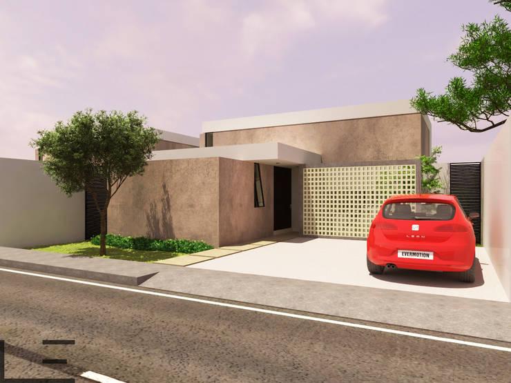 CASAS KR - Acceso: Casas de estilo  por LARA ESCALANTE ARQUITECTURA Y CONSTRUCCIÓN