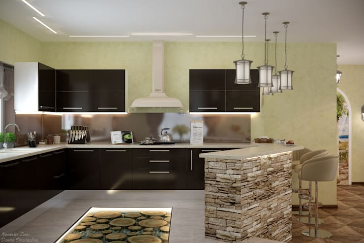 مطبخ تنفيذ Студия интерьерного дизайна happy.design
