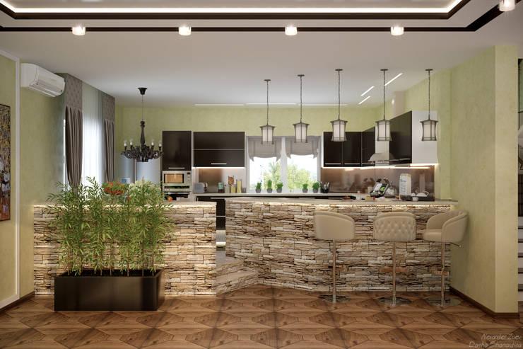Дизайн кухни-гостиной в стиле фьюжн в доме по ул. Бабыча, г.Краснодар: Кухни в . Автор – Студия интерьерного дизайна happy.design
