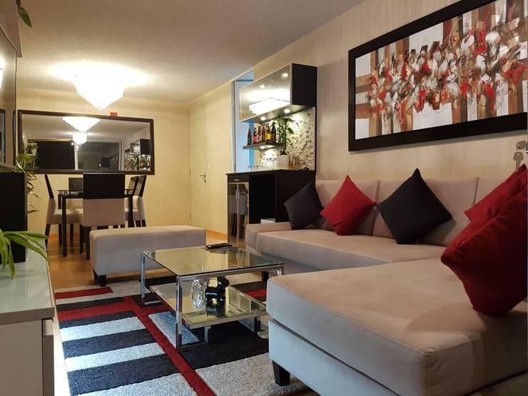 Departamento 87 m2 San Miguel – Lima: Salas/Recibidores de estilo  por Raúl Zamora