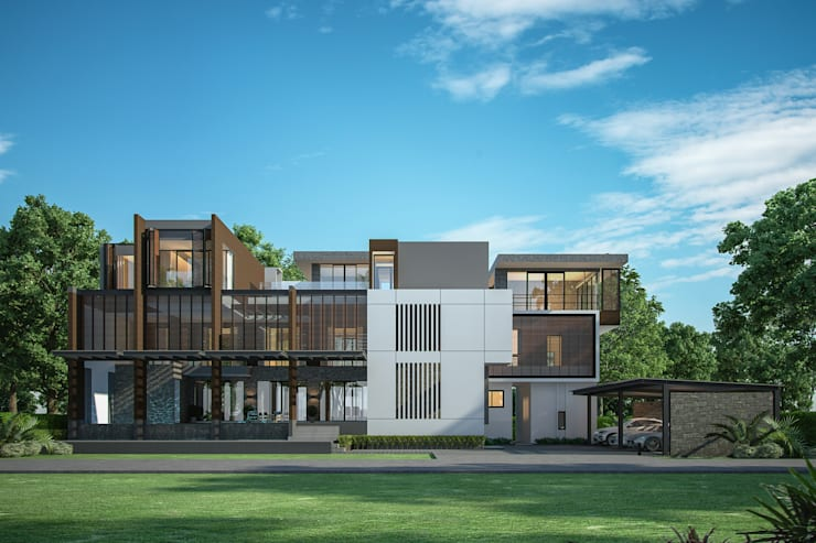 wind  wall  villa :   by i am architect CO.,Ltd.