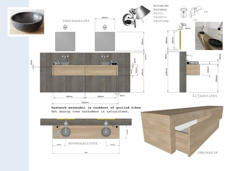 ONTWERP BADKAMER:  Badkamer door VAN VEEN INTERIOR DESIGN