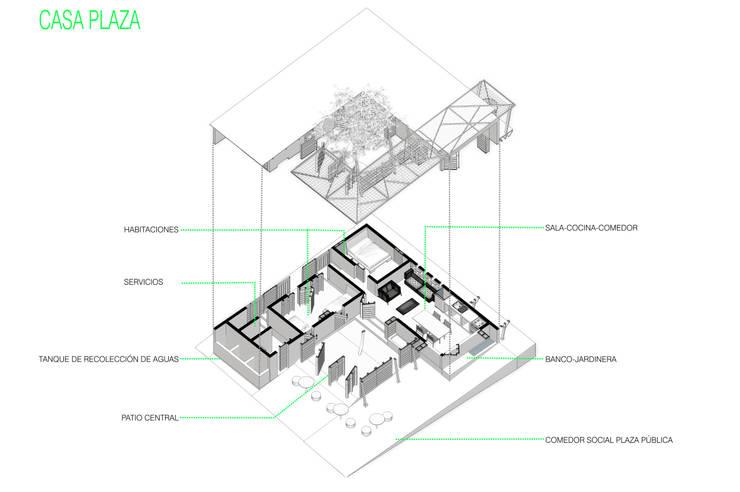 Corte isometrico: Casas de estilo minimalista por Taller de Desarrollo Urbano