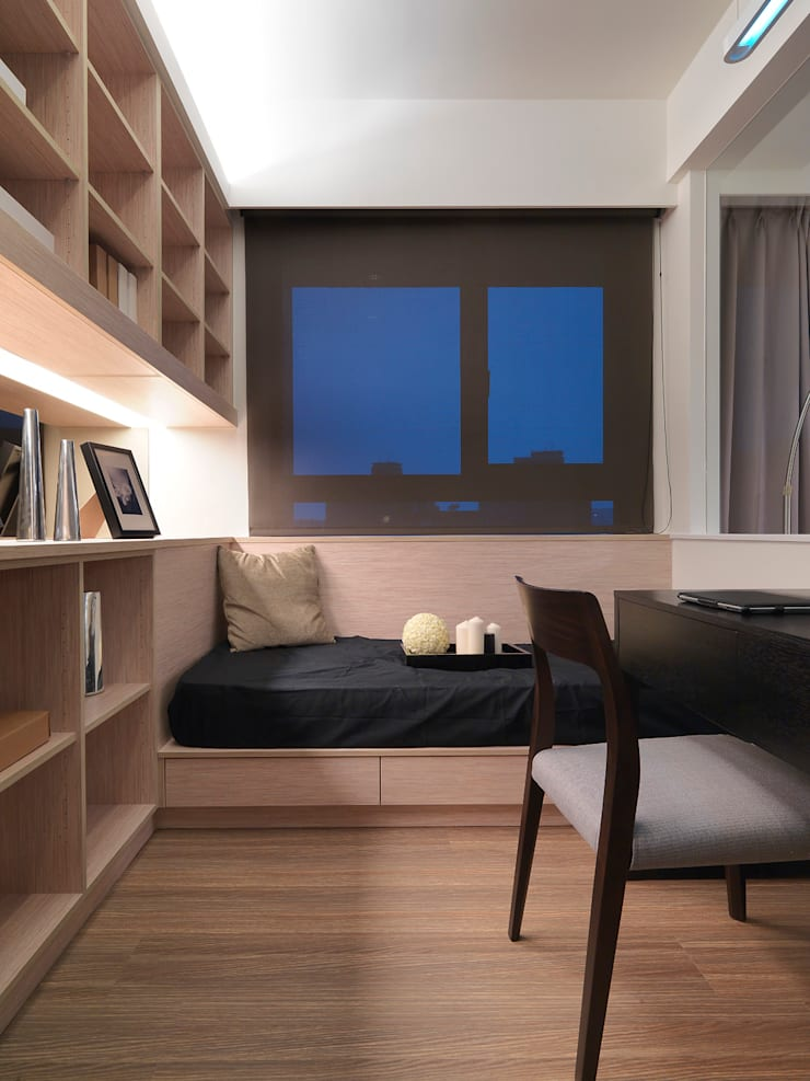 單身貴族的最愛~現代質感與創意機能滿分:  書房/辦公室 by 大集國際室內裝修設計工程有限公司