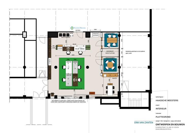 plattegrond:  Kantoor- & winkelruimten door Erik van Zanten Ontwerpen en Bouwen, Modern