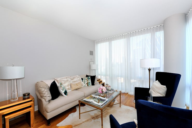 Apartment Remodel on West 52nd St.:  Living room by KBR Design and Build