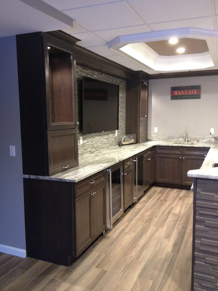 Basking Ridge Basemet Bar!: classic Wine cellar by Kitchen Krafter Design/Remodel Showroom