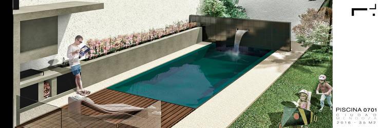 Diseño de Jardín con Piscina         : Terrazas de estilo  por Juan Pablo Muttoni,Moderno