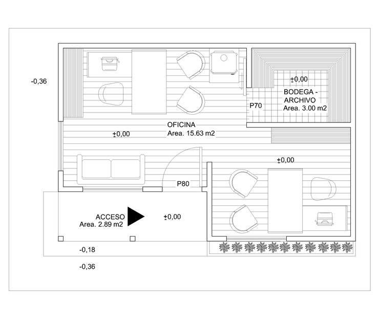 Planta Oficina:  de estilo  por Arquitectura y Construcción Chinquel