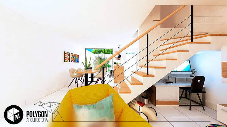 Sala y escalera a segundo piso.: Salas de estilo  por Polygon Arquitectura