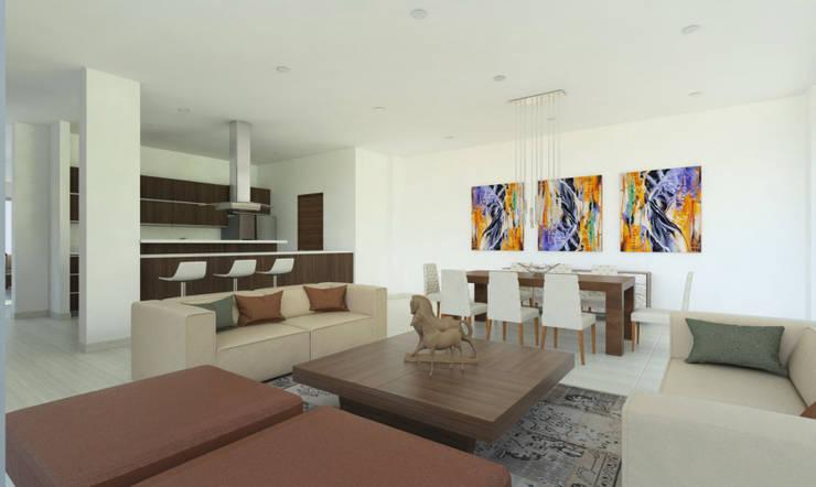 Sala - Comedor -Cocina: Salas de estilo  por Viewport - Servicio de renderizado