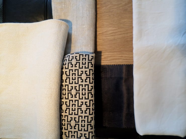 Master Bedroom fabric selection.:  Bedroom by Claire Cartner Interior Design