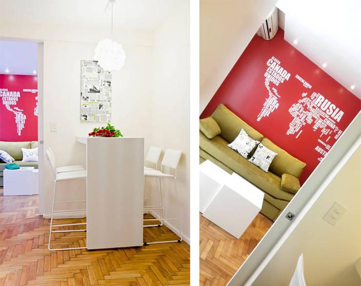 Millenials' Apartment: Livings de estilo  por Majo Barreña Diseño de Interiores