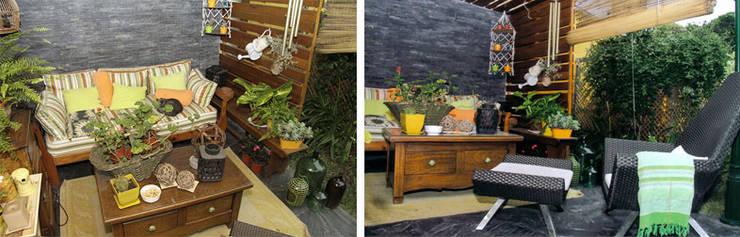 CALOR DE HOGAR: Jardines de invierno de estilo  por Majo Barreña Diseño de Interiores,