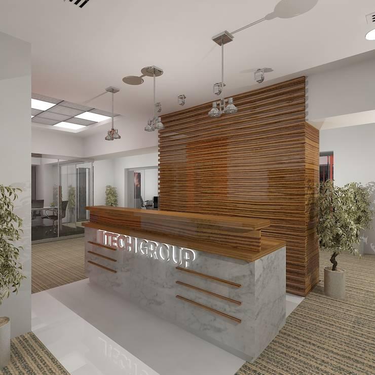 Reception:  Office buildings by Gurooji Design
