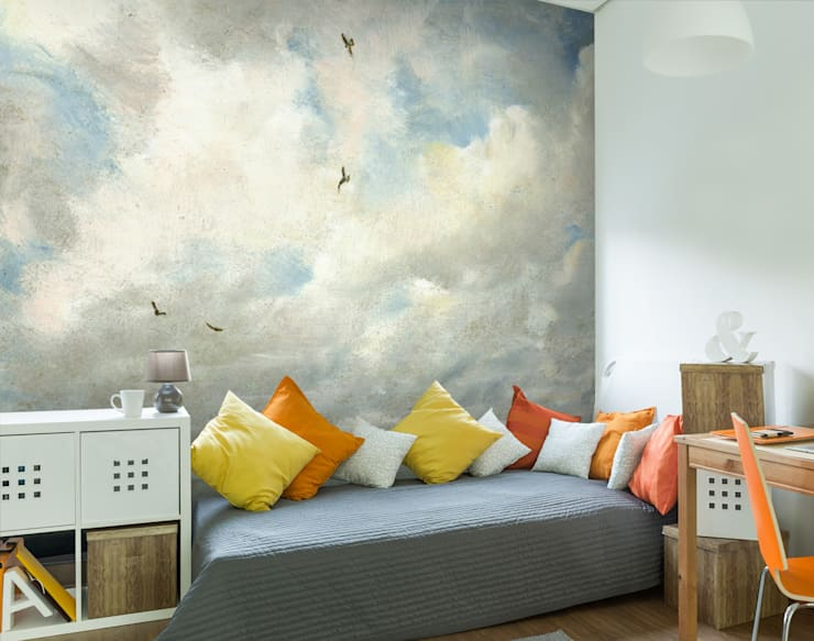 John Constable Cloud Wallpaper with Birds par Wallsauce.com Classique Papier