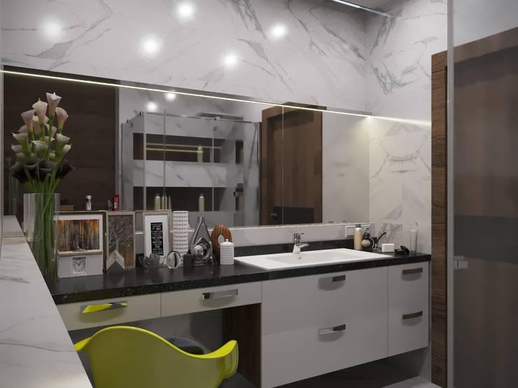 Спальня для молодой пары: Ванные комнаты в . Автор – blackcat design