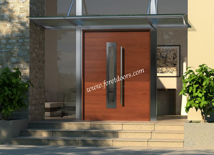 Modern solid wood exterior door with stainless steel accent:  Windows & doors  by Foret Doors