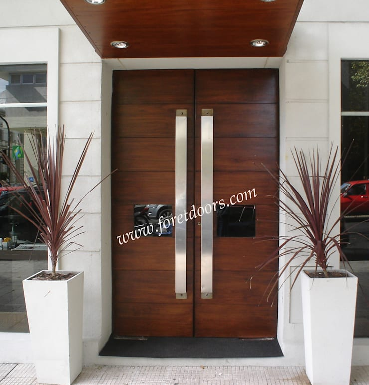 Modern double entry door with custom stainless steel pulls:  Windows & doors  by Foret Doors