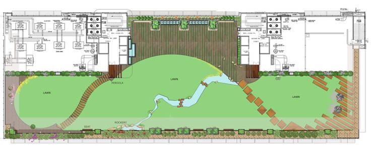 Terrace garden floor plan:  Commercial Spaces by Land Design landscape architects,