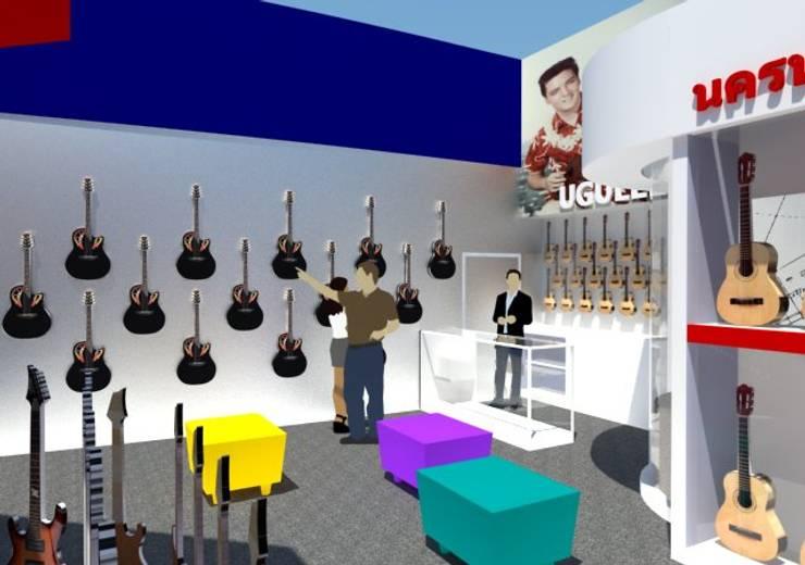 ออกแบบตกแต่งร้านนครหลวงการดนตรี สาขาฟอร์จูนทาวน์:  ตกแต่งภายใน by COCONS ARCHITECTURE