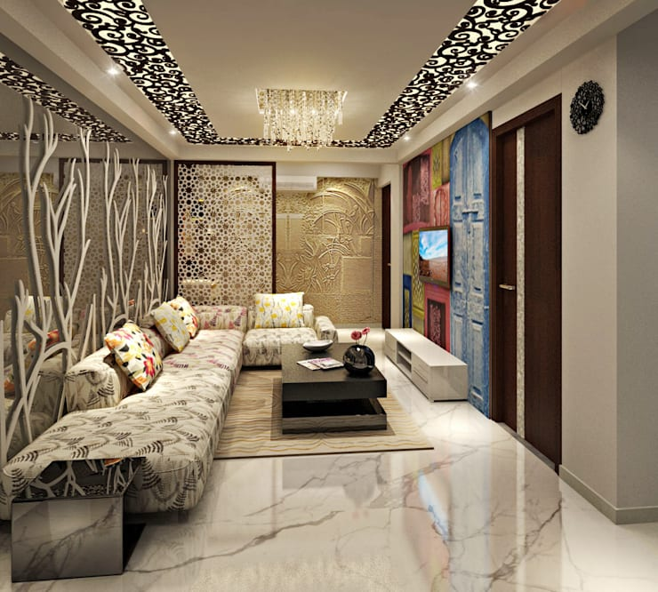 Living Area: asian Living room by Design Consultant