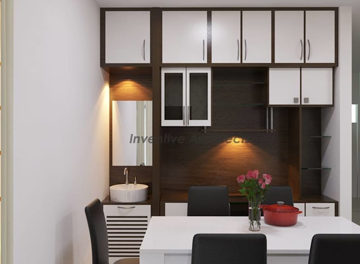Interior Project for 3BHK Flat:  Dining room by Inventivearchitects
