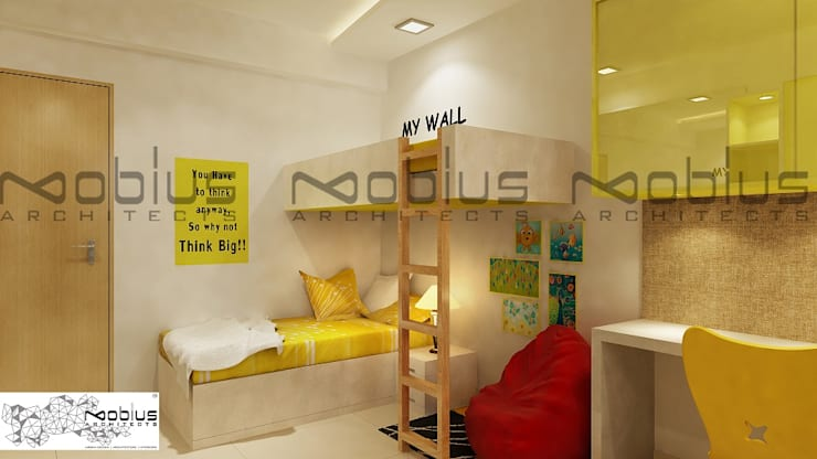 Rhythm Apartment:  Nursery/kid's room by Mobius Architects