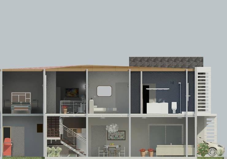 corte de la vivienda : Pasillos y vestíbulos de estilo  por Diseño Store